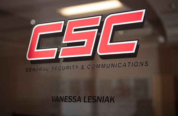 CSC logo on glass door